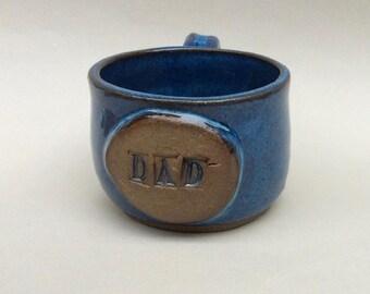 A MUG/ for DAD in dark blue/ ceramic/ pottery, coffee mug/handmade/ ready to ship/gift/holiday/shaving mug  M16