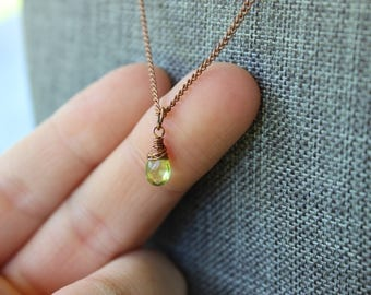 Tiny Peridot Copper Necklace