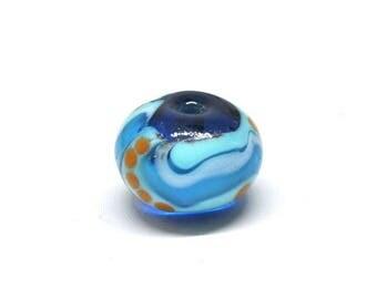 ligt blue, orange bead