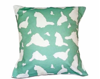 Cat Kitten Dog Silhouette Breed Specific Scatter Cushion Mint Unique ZukieStyle Fabric Design