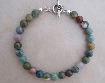 fancy jasper sterling silver bracelet