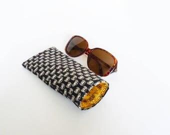 Glasses case, VW Beetle fabric, black and white VW Beetle design, cotton case