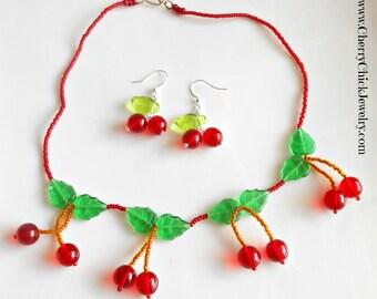 Cherry Necklace - Cherry Jewelry - Rockabilly Cherries - Cherry Choker Necklace - Rockabilly Necklace - Cherry Chick - Rockabilly Jewelry