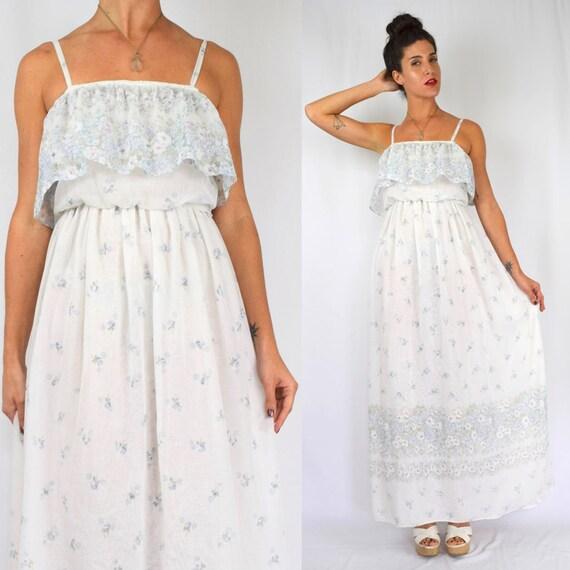 Vintage 70s Floral Print Cotton Voile Prairie Dress (size small, medium)