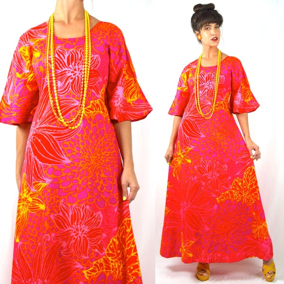 Vintage 60s 70s Psychedelic Floral Print A Line Maxi Dress with Bell Sleeves (size small, medium)
