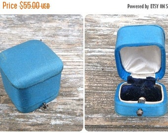 ON SALE Antique 1900 French blue sateen jewellers /jewelry box trinket