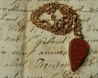 Gold stone heart  pendant necklace / Aventurine Glass stone Heart pendant with chain /