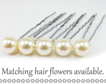 Ivory Pearl Hair Pins - 8mm Cream Swarovski Pearls (5 qty) - FLAT RATE SHIPPING
