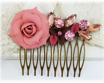 Blush Pink Flower Hair Comb - Pink Rose Hair Comb, Pink Wedding Flower Comb, Pink Comb Vintage Style, Flower Collage Hair Comb