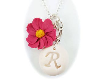 Personalized Cosmos Flower Initial Necklace - Cosmos Jewelry, Pink Flower Jewelry, Pink Cosmos