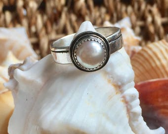 Pearl Ring Silver Pearl Jewelry June Birthstone Jewelry Bridal Bridesmaids Ready To Ship Size 8.75-9 Sterling Silver Handmade Pearl Ring