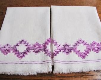 Vintage Kitchen Towels, Vintage Swedish  Huck Towels, Vintage Swedish Embroidered Towels, Purple Embroidered towels, cotton Towels, Ombre