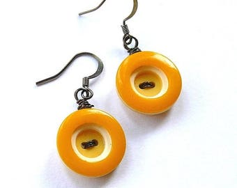 BUTTON JEWELRY SALE Retro Mustard Yellow Circles Vintage Button Dangle Earrings