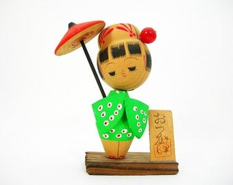 Wood Kokeshi Doll Figure - Girl Holding Red Parasol - Dressed in Green Kimono - Made in Japan - Vintage Kitsch Knickknack Collectible Doll