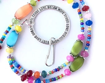 Rainbow Cats Eye Beaded ID Badge Lanyard - Oval Cat Eye Beads - ID Necklace