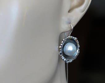 Pearl Earrings,Bridal Earrings Vintage,Wedding Earrings Pearl,Pearl Dangle Earrings,White Pearl Earrings, Gift for her, Women's Jewelry