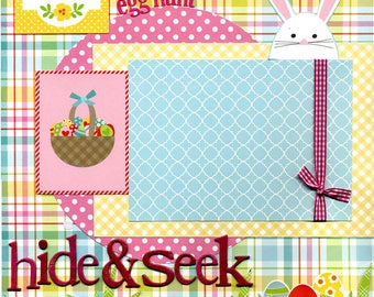 Easter Egg Hunt - Hide & Seek - 12x12 Premade Scrapbook Page