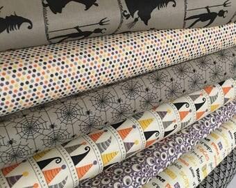 Halloween Fabric Bundle, Fabric by the Yard fabric, Fabric Shoppe bundle, Moda Fabric- Hocus Pocus Fabric Bundle of 7