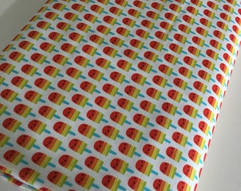 Suzie's Minis fabric, Popsicle Fabric, Cute Face, Kids Children's Decor, Quilting fabric, Small Print, Popsicles in Bright, Choose the Cut