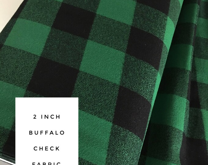 Buffalo Plaid, 2 inch check, Mammoth Flannel fabric, Green Black Plaid, Flannel by the yard, Apparel fabric, Flannel in Green, Black
