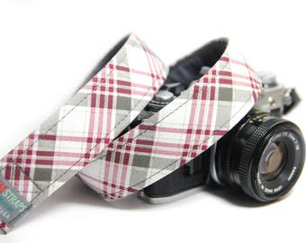 Red and Gray Plaid Camera Strap - Vintage Plaid
