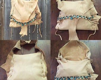 Just sayin moosehide hobo bag handmade turquoise medium size