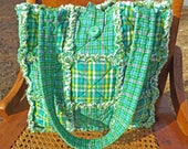 Homespun Rag Quilt Tote - Pretty Green Plaids - Shades of Green Tote - Handmade - Rag Quilt Handbag