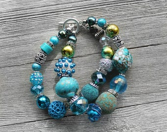 Beaded Bracelet, Turquoise, Double Stand Beaded Bracelet, Bead Bracelet, Mixed Bead Bracelet, Ocean Water Beaded Bracelet