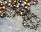 Freshwater Pearl in Metallic Tones and Bronze, St. Michael Rosary, Wire-Wrapped Rosary, 5 Decade Rosary, Catholic Rosary