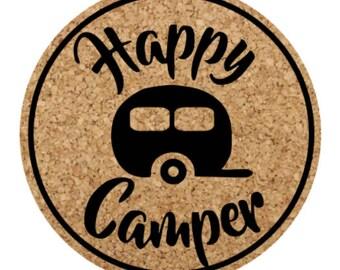 Happy Camper Cork Coasters set of 4