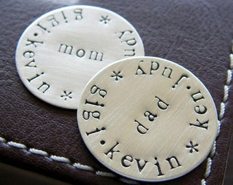 Custom Golf Marker Set for Him and Her (TWO MARKERS) - Personalized Hand Stamped Sterling Silver Keepsake Tokens