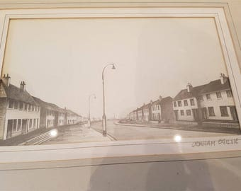 Vintage Scotland Cityscape Street Scene Pencil Drawing Original Art