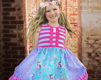 Unicorn Princess dress Birthday party Castle Tea Party girls birthday present toddler dress pink momi boutique