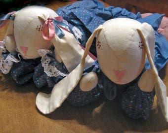 Rabbit Doll Set Tummy Bunnies Handmade Dressed in Blue