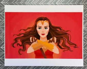 """Wonder Woman Fanart Digital Art Print - 8.5 x 11"""""""