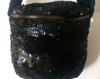 Vintage 30's Black Sequin Evening Purse