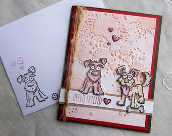 Handmade Thinking of You Card: dogs, best friend, quote, Eleanor Roosevelt, brown, red, hearts, complete card, handmade, balsampondsdesign