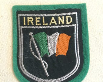 Vintage Souvenir European Travel Patch Badge Applique Ireland North Atlantic Great Britain North Channel Irish Sea St George's Channel