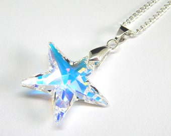 Large White Swarovski Star Necklace - Aurora Borealis Crystal - Crystal Star Necklace - Swarovski Elements - Star Pendant - April Birthstone