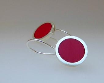 Red Drop Earrings - Round Red Earrings - Red Resin Jewelry - Gift for Sister - Pop Drop Earrings