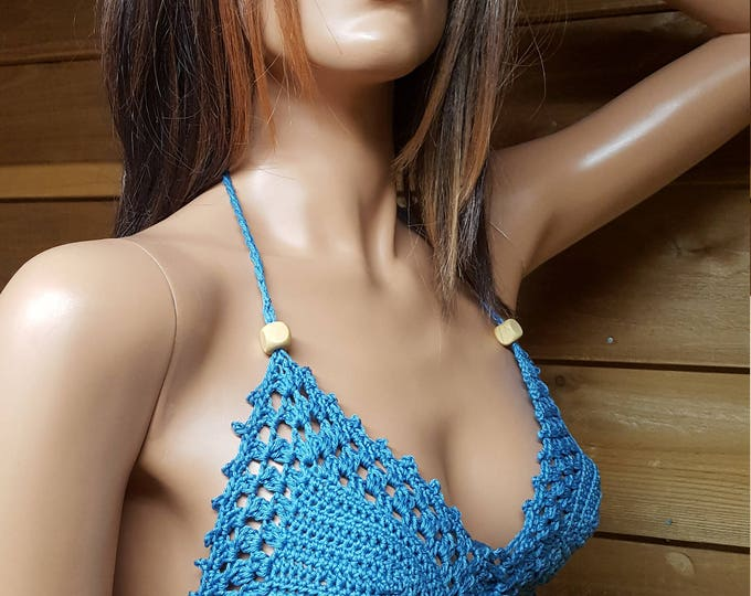 Featured listing image: Blue Lace, Crochet bikini top