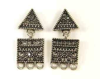 Antique Silver Granulated Tribal Earring Post with Loop, Geometric Segmented Triangle Square Rhinestone Chandelier Earring Finding |S15-4|2