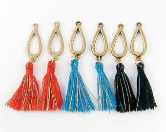 Red Tassel, Black Tassel, Turquoise Tassel Earring Findings, Earring Dangles, Gold Teardrop Fringe Pendants |B7-12|2