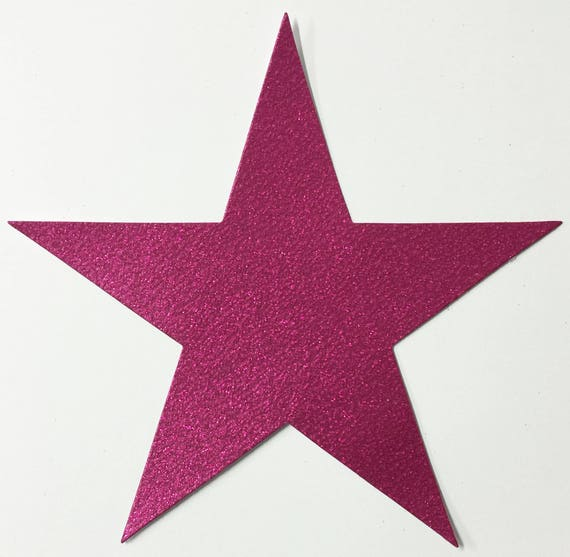 Giant Pink Magenta Glitter Card Stock Star Die Cuts - 7-3/4 Inch Size 10 Stars - Scrapbook Art Craft Military Party Decoration Altered Attic