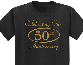 Celebrating  Our 50th ANNIVERSARY Couples T-Shirts, set of 2 Matching Tees