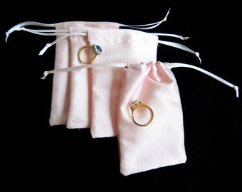 NEW SALE Pink silk medium pouches 2nds -slight seconds lined bag for rings, gifts, presentation, wedding- custom medium size- ready to ship