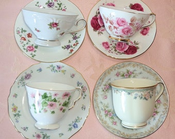 Mismatched 4 Cup and Saucer Sets Tea Coffee Mixed Porcelain Lenox England Germany Japan Roses Floral Gold