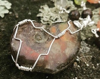 Opalized Ammonite Fossil Necklace