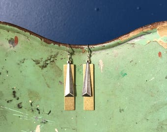 Obelisk Mixed Metal Drop Earrings layered brass rectangle Drop and silver coated obelisk