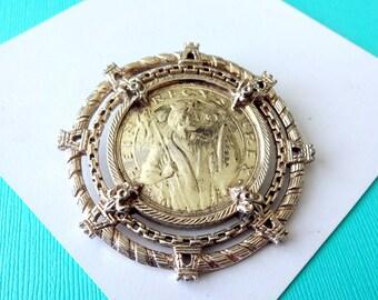 Huge Nettie Rosenstein Sterling Silver Coin Pendant